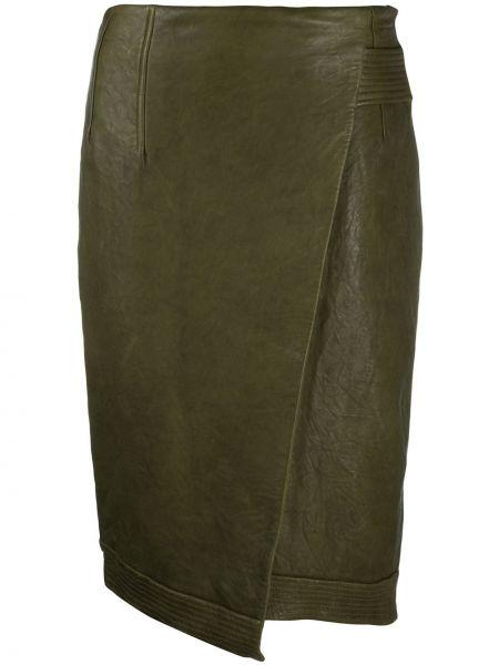 Зеленая кожаная с завышенной талией юбка миди Veronica Beard