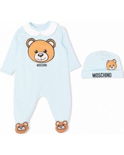 Niebieska piżama bawełniana Moschino Kids