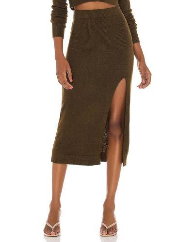 Włókienniczy zielony spódnica midi za pełne elastyczny L'academie