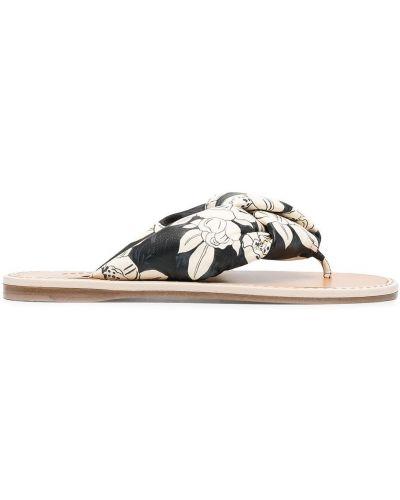 Czarne sandały skorzane peep toe Miu Miu