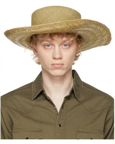 Czarny kapelusz bawełniany Saint Laurent