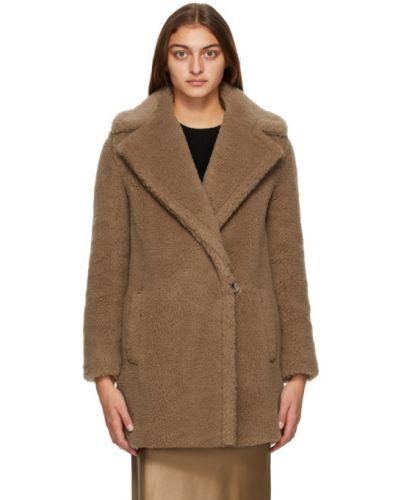 Коричневое шерстяное длинное пальто с воротником с лацканами Max Mara