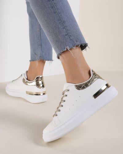 Białe złote sneakersy Renee