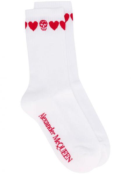 Хлопковые белые носки с черепами Alexander Mcqueen