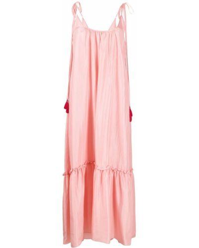Розовое шелковое платье макси трапеция P.a.r.o.s.h.