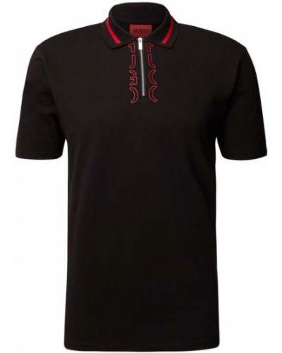T-shirt z printem - czarna Hugo