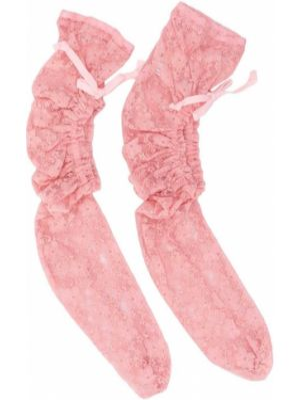 Ażurowe różowe skarpety z falbanami Comme Des Garcons