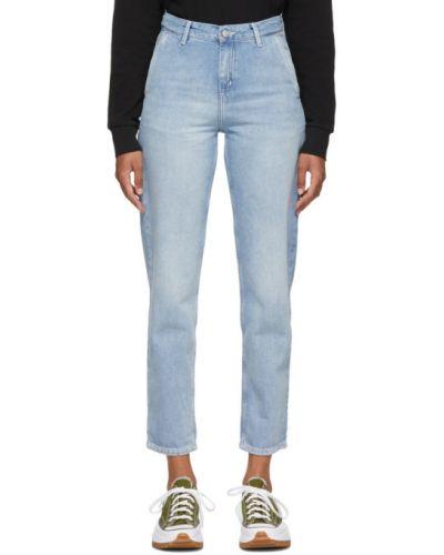 Włókienniczy niebieski jeansy z kieszeniami z łatami Carhartt Work In Progress