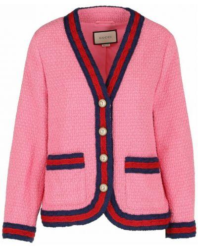 Różowa marynarka tweedowa Gucci