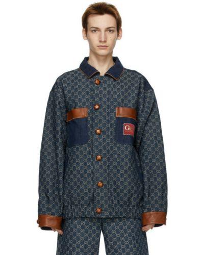 Skórzany niebieski jeansy z łatami Gucci