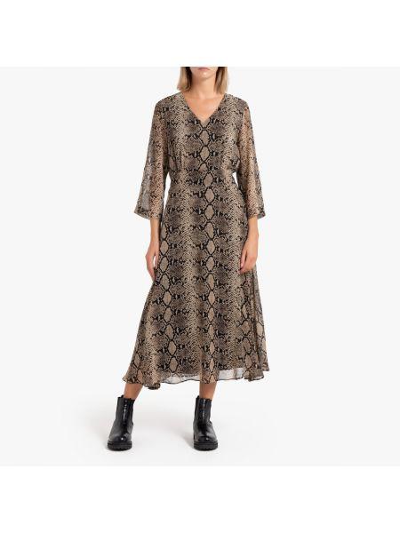 Платье с поясом с V-образным вырезом прямое La Redoute