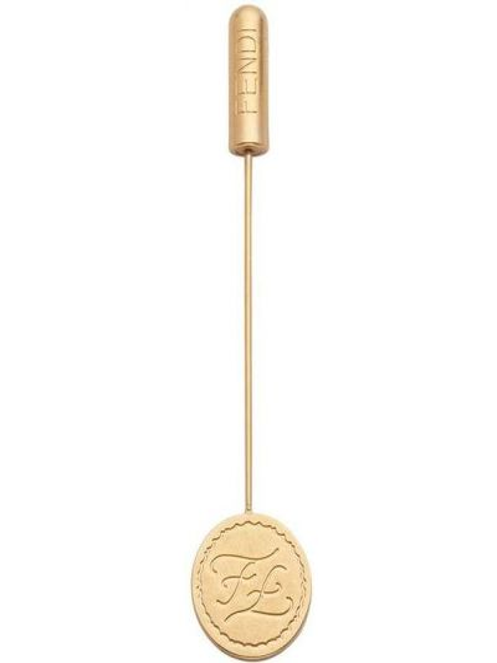 Złota broszka - szara Fendi