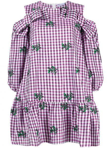 Платье мини с открытыми плечами - розовое Red Valentino