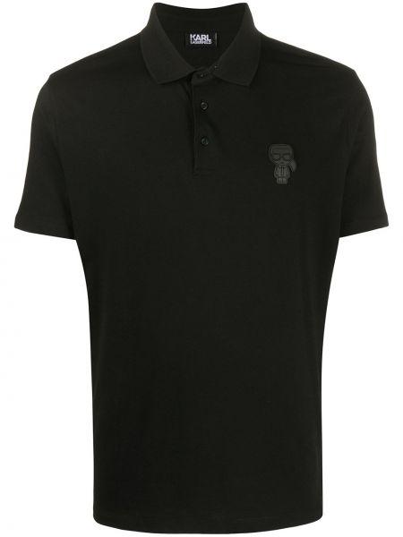 Koszula krótkie z krótkim rękawem z logo czarna Karl Lagerfeld