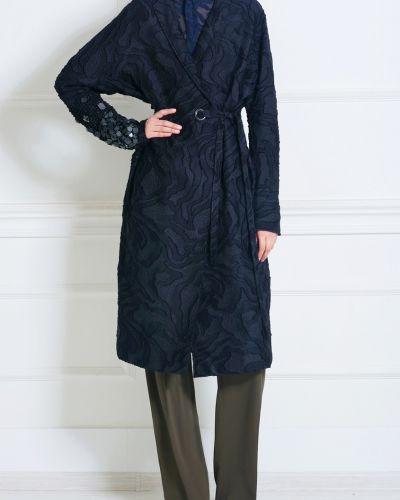 Шелковое с рукавами синее пальто Damir Doma