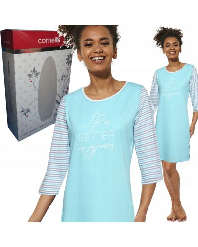 Koszula bawełniana turkusowa z printem Cornette
