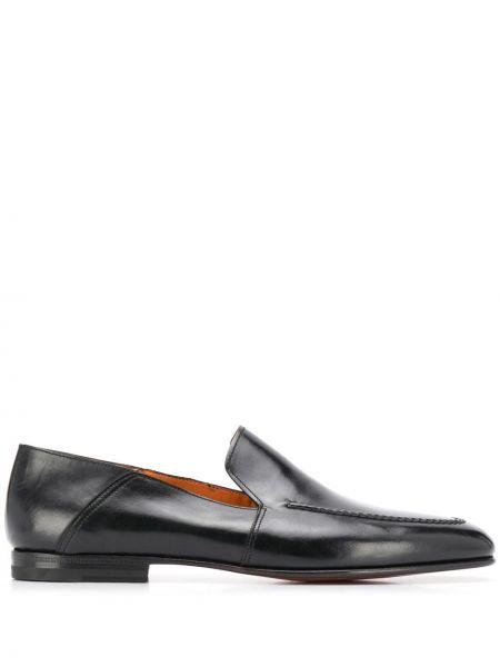 Loafers skórzany czarny Santoni