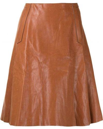 С завышенной талией кожаная юбка с карманами Hermes