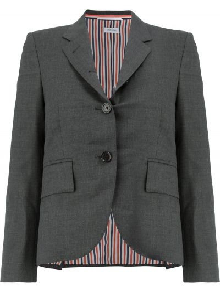 Однобортное серое шерстяное пальто классическое Thom Browne