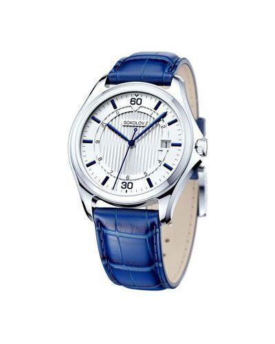 Кварцевые часы с кожаным ремешком водонепроницаемые Sokolov