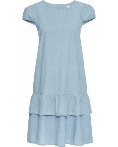 Джинсовое платье с оборками Bonprix