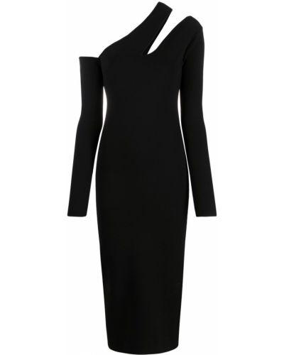 Трикотажное черное зауженное платье макси Nanushka