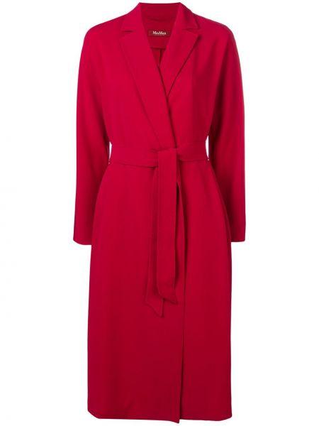 С рукавами красное однобортное пальто классическое с поясом Max Mara Studio