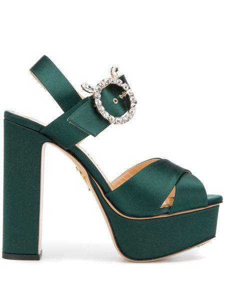 Zielone sandały na platformie srebrne Charlotte Olympia
