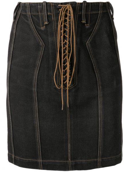 Хлопковая черная джинсовая юбка винтажная на шнуровке Alaïa Pre-owned