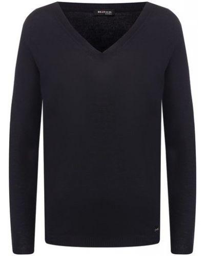 Кашемировый темно-синий пуловер с V-образным вырезом Kiton