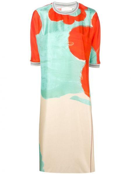Шелковое прямое платье с вырезом с короткими рукавами Rohka