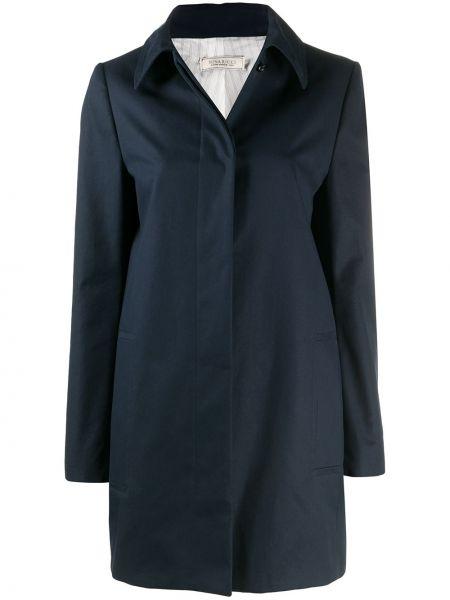 Прямое синее длинное пальто с воротником Nina Ricci