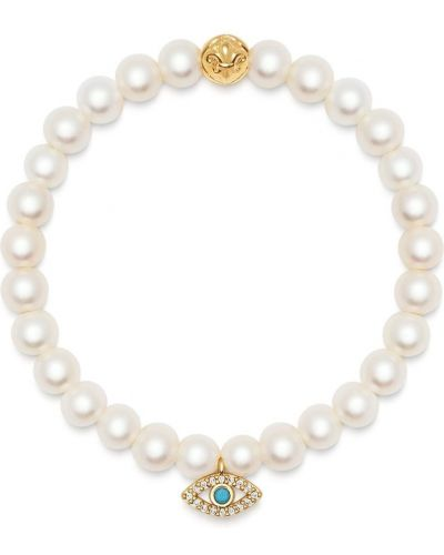 Biały złoty charms perły Nialaya