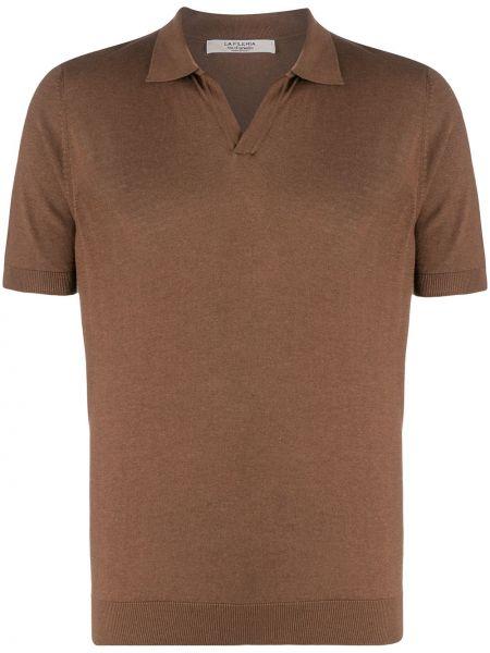 Коричневая рубашка с короткими рукавами с воротником с манжетами La Fileria For D'aniello