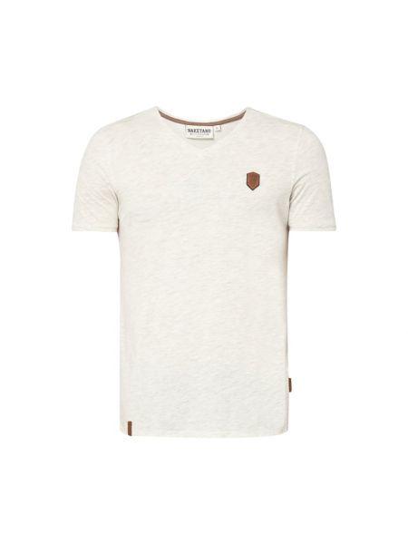 Beżowy t-shirt bawełniany z dekoltem w serek Naketano