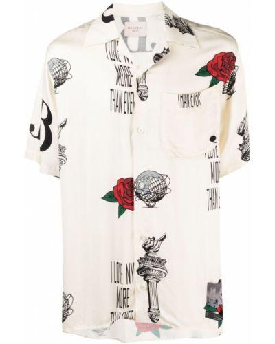 Beżowa koszula krótki rękaw z wiskozy Buscemi