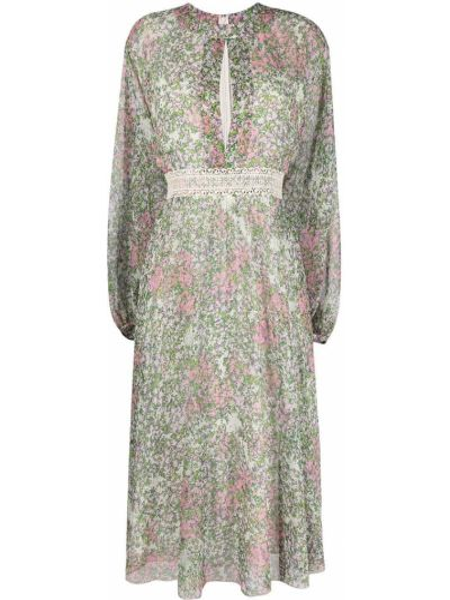 Шелковое зеленое платье миди с длинными рукавами Giambattista Valli