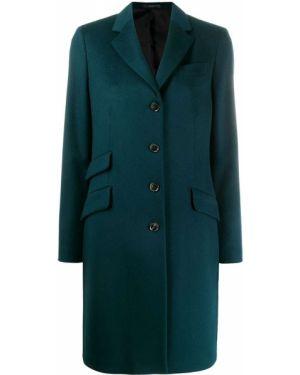 Однобортное синее пальто классическое на пуговицах с капюшоном Paul Smith