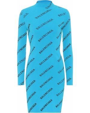 Платье мини бирюзовый вязаное Balenciaga