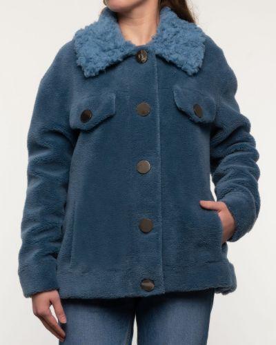Синее шерстяное пальто с воротником Alcato