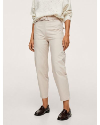 Beżowe spodnie materiałowe Mango