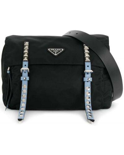 Кожаная сумка поясная с заклепками Prada