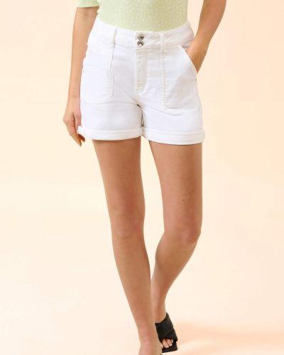 Białe szorty jeansowe bawełniane zapinane na guziki Orsay