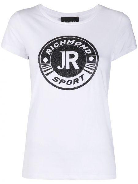 Хлопковая с рукавами белая рубашка John Richmond