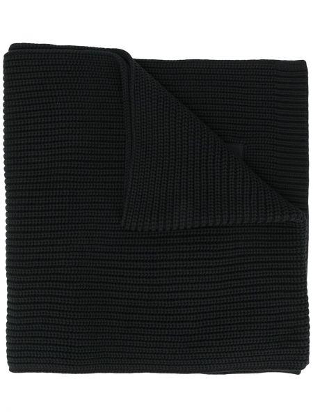 Wełniany czarny szalik z łatami Y-3