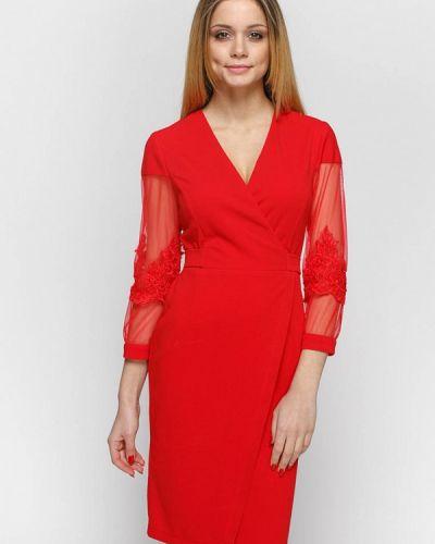 Коктейльное платье весеннее красный Zubrytskaya