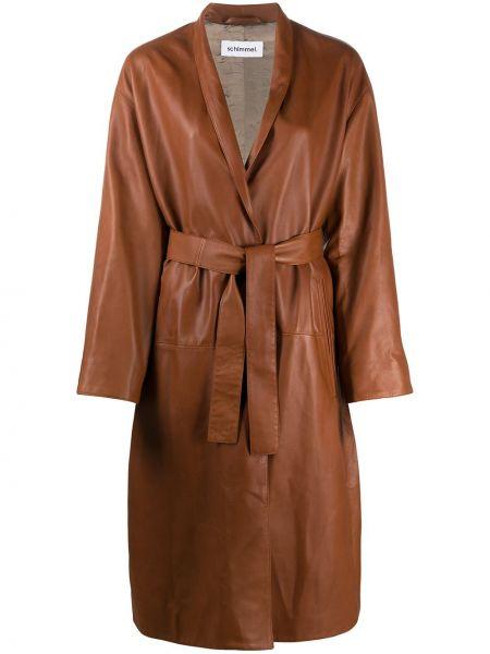 Коричневое кожаное длинное пальто с лацканами Sylvie Schimmel