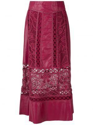Кожаная юбка миди - красная Martha Medeiros