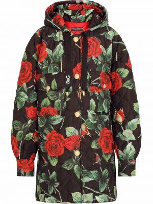 Czarny płaszcz z printem Dolce And Gabbana