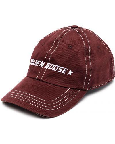 Włókienniczy z paskiem biały czapka z daszkiem z haftem Golden Goose